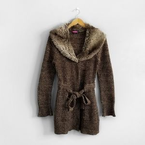 SAY WHAT? Brown Knit Faux Fur Cardigan Sweater